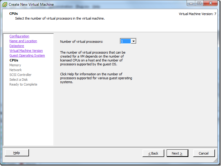 Create New Virtual Machine_Processors