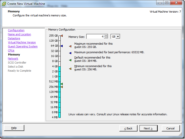 Create New Virtual Machine_Memory